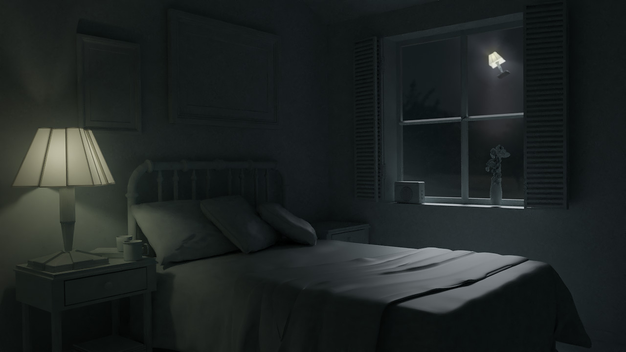 Спальня ночью 3D рендер