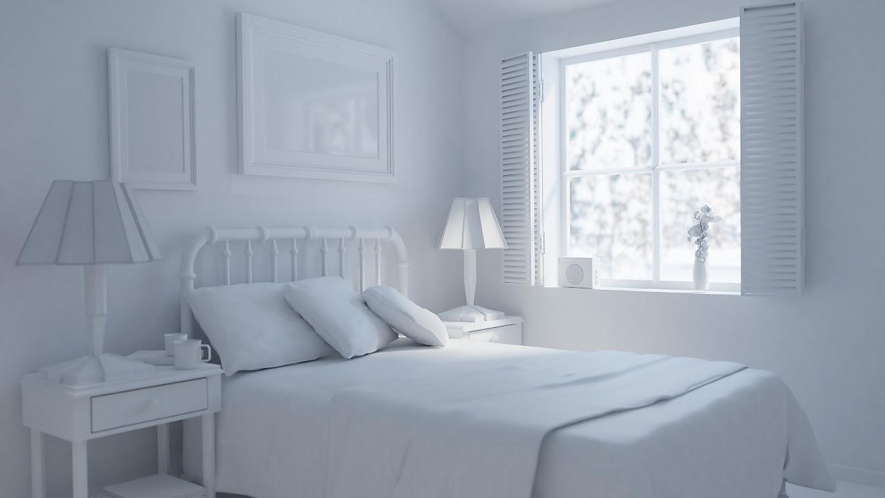 Спальня днём 3D рендер
