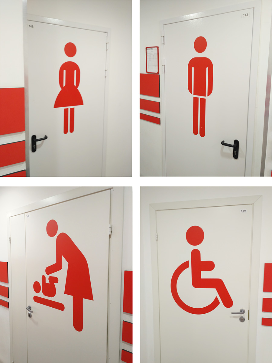 Пиктограммы в туалетах Ашан