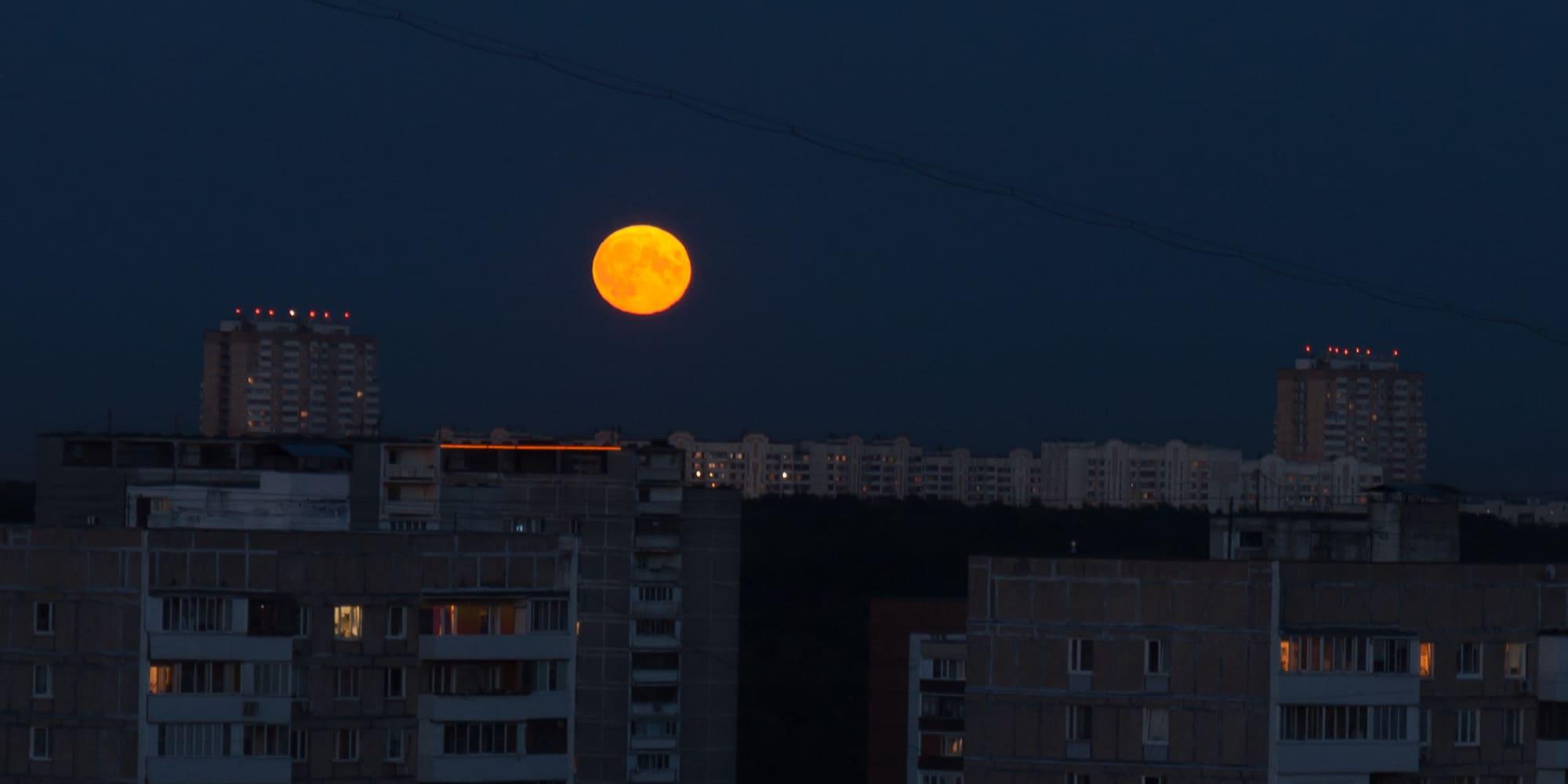 Большая луна над горизонтом