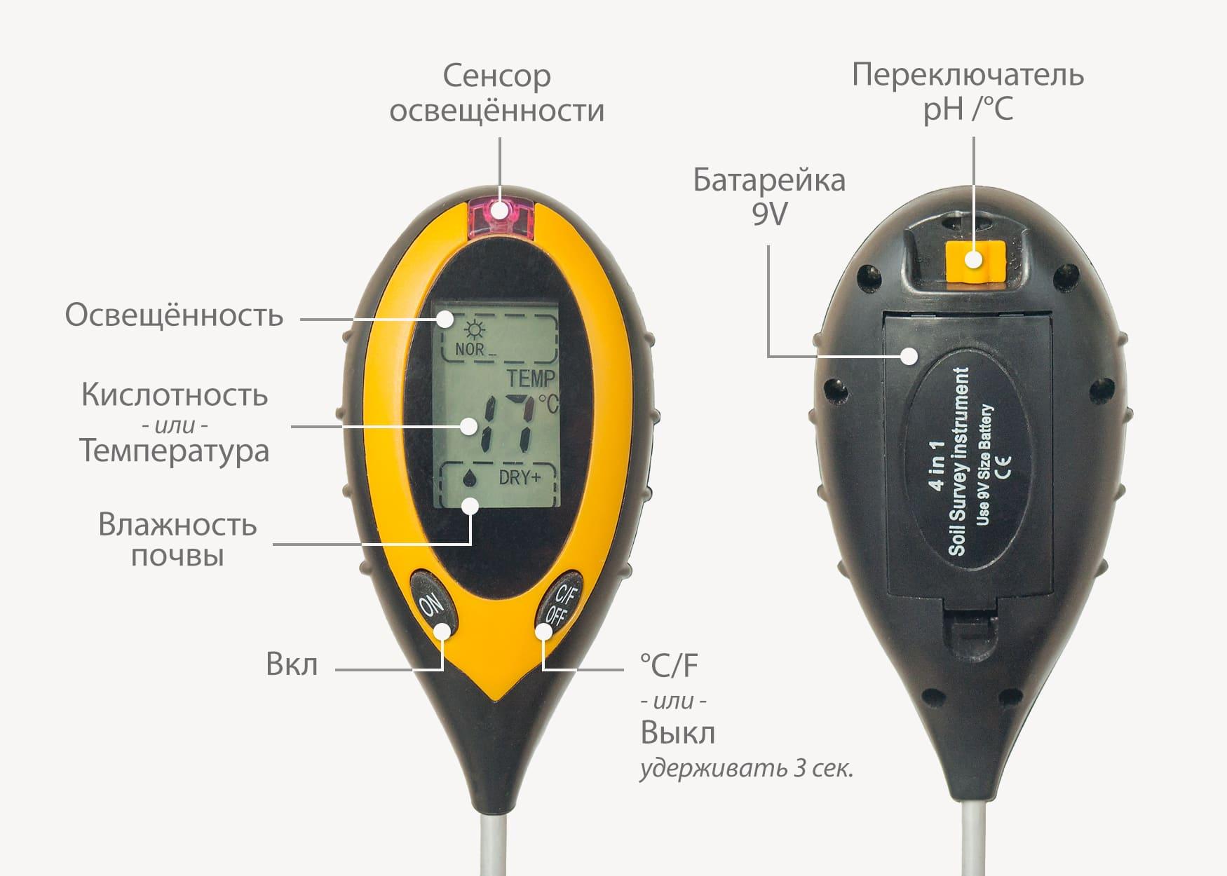 Прибор для измерения кислотности грунта