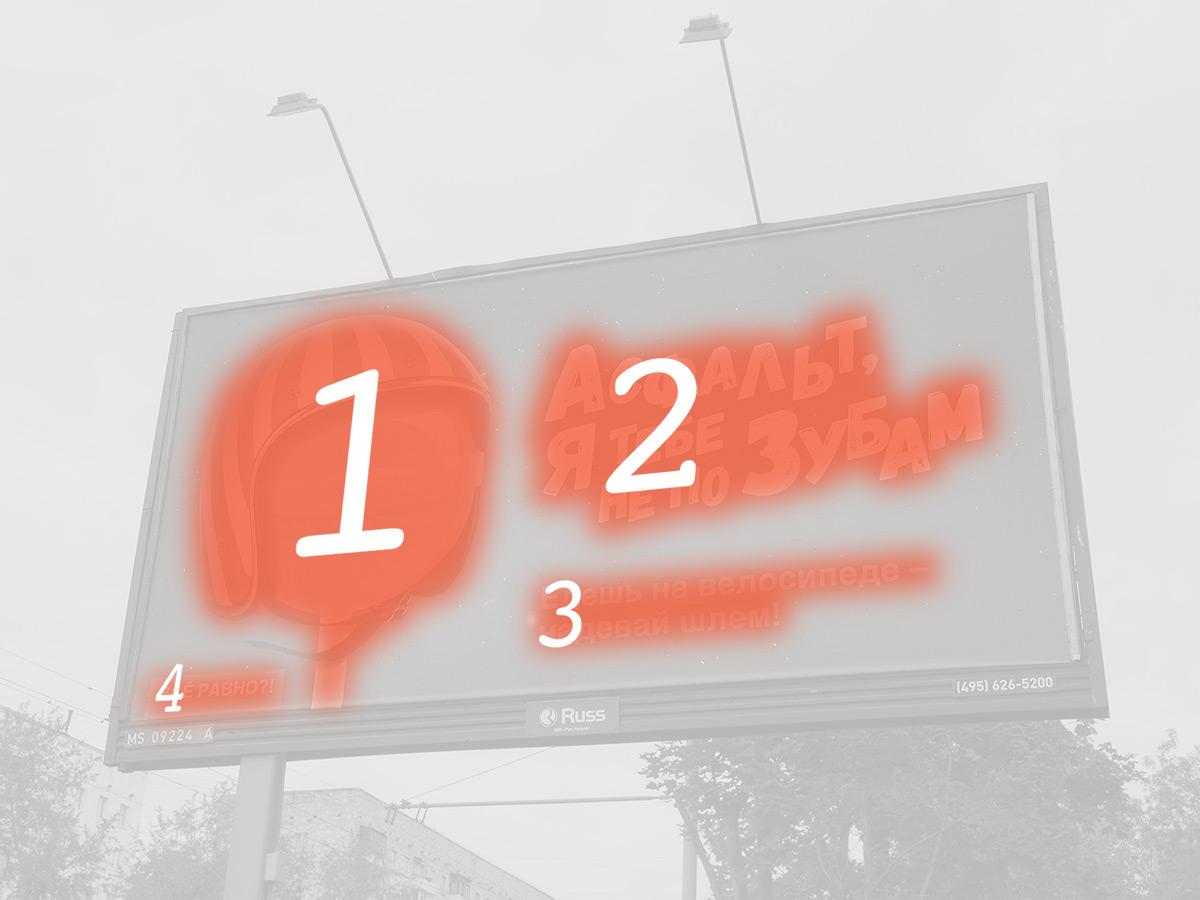 Предполагаемый приоритет считывания информации на рекламном щите во время движения